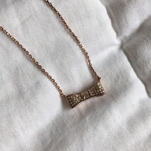 Kate spade rose gold dainty bow necklace